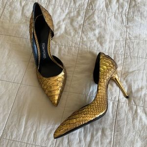Tom Ford Gold Python Leather D'orsay Pumps